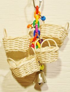 Baskets toy for small Birds. #DIY #Bird #toy #perch