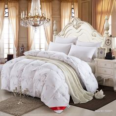 100% white duck/goose down winter quilt comforter blanket duvet filling with cotton cover twin queen king size free fast ship