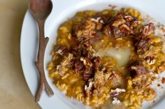 Comforting Pumpkin Pie Oatmeal with Pecans and Crumbled Pumpkin Pie Squares by Oh She Glows