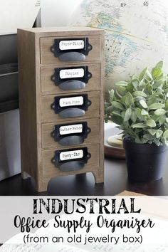 Make an industrial office supply organizer from an old jewelry box using these 3 simple steps. Office Supply Organization, Office Organization, Office Storage, Furniture Makeover, Diy Furniture, Industrial Office, Rustic Industrial, Diy Holz, Office Makeover