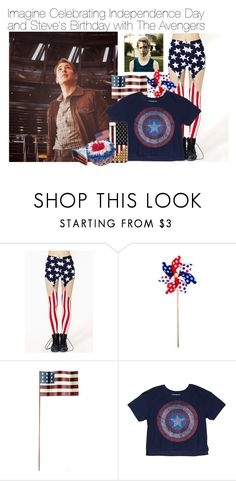 """""""Imagine Celebrating Independence Day and Steve's Birthday with The Avengers"""" by fandomimagineshere ❤ liked on Polyvore featuring Awake and Charlotte Russe"""