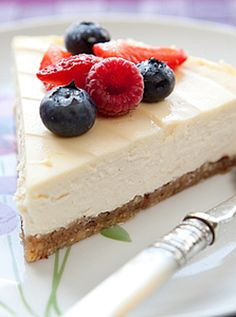 A healthier New York style cheesecake made with Sweet Freedom instead of table sugar