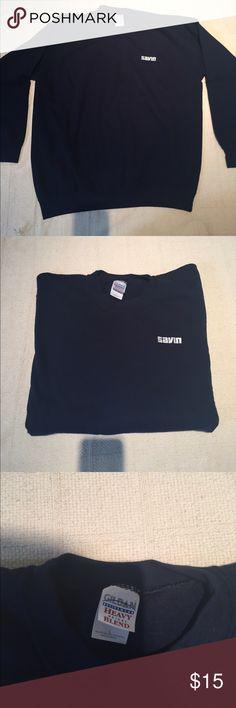 "GILDAN men's Sweatshirt NWOT- Dark Blue heavyweight blend crew neck sweatshirt.  White stitch ""Savin"" logo. 50% Cotton 50% Polyester. Made in Mexico. Gildan Shirts Sweatshirts & Hoodies"