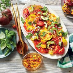 Tomato Cucumber Salad: Sweet peach dressing amps up the summery deliciousness in this simple salad.