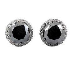 2.5 CT BLACK DIAMOND STUDS IN 925 SILVER WITH DIAMONDS Black Diamond Studs, Black Diamond Earrings, Colored Diamonds, 925 Silver, Gemstones, Shopping, Gems, Crystals Minerals, Gem