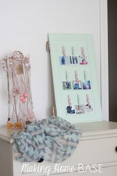 Display your favorite Instagram photos on your own DIY Instagram Photo display. Repurpose a cabinet door by painting and adding clothes pins with hot glue.
