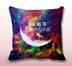 Peter Pan Take Me To Neverland Quote Throw Pillow Cover. Fine quality USA handmade decorative throw pillow cover. Front and back of pillow cover are same. Hidden zipper closure. This pillow cover comes in indoor or outdoor fabric in the size of your choice. Indoor Throw Pillow Covers are made from 100% spun polyester poplin fabric, while the Outdoor Throw Pillow Covers are made from made from weather- and fade-resistant 100% spun polyester poplin fabric.