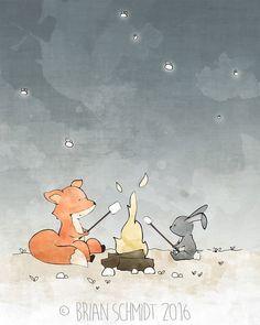 Rabbit and Fox Nursery Art Print, Orange Grey Kids Room Decor, Forest Friends Camping, Whimsical Drawing, Neutral Nursery Print