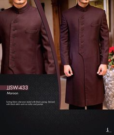 Latest Men Sherwanis Designs Groom Wedding Collection consists of fancy and embroidered couture dresses, sherwanis and vest coats. Mens Sherwani, Kurta Men, Wedding Sherwani, Wedding Men, Wedding Suits, Wedding Groom, Baju India Muslim, Indian Men Fashion, Mens Fashion
