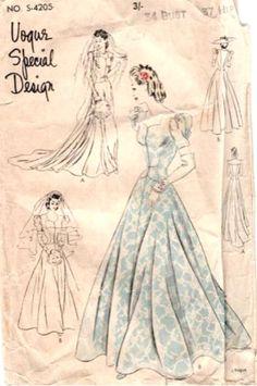 Vogue Wedding Dress Patterns, Designer Wedding Dresses, Paper Patterns, Vintage Sewing Patterns, Vintage Vogue, Vintage Fashion, Princess Line Dress, Ballet Fashion, Bridal And Formal