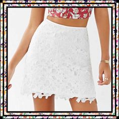 Kimchi Blue Crochet Fitted Mini Skirt from UO Modernly feminine mini skirt from the experts at Kimchi Blue. Fitted short silhouette fully lined with a lace overlay complete with a high-rise waist and a zippered closure. Polyester. Hand wash. Size 12. NWT. Kimchi Blue Skirts Mini