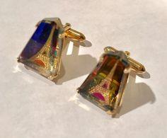 SWANK Eiffel Tower CUFFLINKS Vintage Iridescent Glass Cuff Links by jewelryannie on Etsy