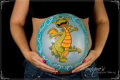 Bellypaint draak / dragon by Monique's Magische Make-up www.magischemakeup.nl