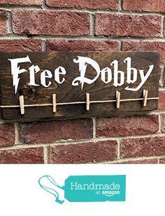 Free Dobby Wood Sign / Harry Potter House Elf / Laundry Room Sock Hanger / Save Dobby / Donate Single Socks / Lost Socks / Gifts Under 20 from Ozark Farmhouse https://smile.amazon.com/dp/B01LXUVJ06/ref=hnd_sw_r_pi_dp_lHmjybWRSWSN2 #handmadeatamazon