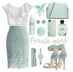 fresh mint by simonabartoletti on Polyvore featuring polyvore fashion style Chicwish Halston Heritage MICHAEL Michael Kors Emporio Armani Ted Baker Casetify Giorgio Armani Liz Earle Eos clothing