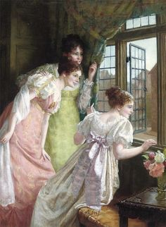 Mary E. Harding - The three youngest Bennet sisters, waiting for Elizabeth to arrive at the inn.