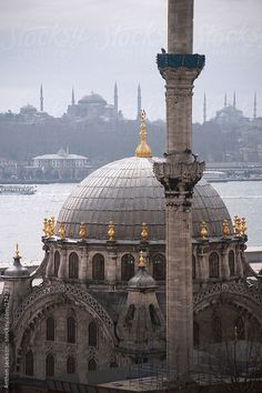 Nusretiye Mosque, Istanbul,Turkey _ Nusretiye Mosque rises in front of the Golden Horn and Istanbul's most famous pair of mosques, the Blue Mosque and the Hagia Sophia.
