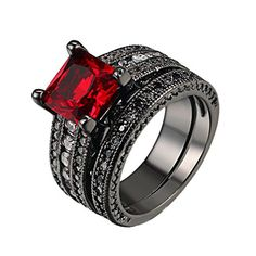 DBMOOD 2PCS Gorgeous Amazing Ruby Black Gun Plated Cubic Zirconia Halo Wedding Bridal Rings Set 10 -- Learn more by visiting the image link.-It is an affiliate link to Amazon.