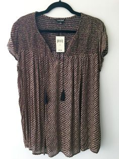 LUCKY BRAND NWT size L short sleeve diamond pattern smocking blouse top #LuckyBrand #Blouse #Career