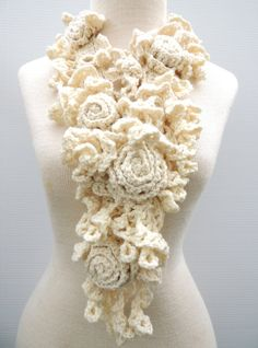 Rose Lace design Medium & Long Lengths available Merino Wool Ivory Rose Scarf Sculptured Lace Scarf CAD) by ValerieBaberDesigns Crochet Flower Patterns, Crochet Designs, Crochet Flowers, Crochet Lace, Lace Patterns, Stitch Patterns, Freeform Crochet, Crochet Stitches, Tunisian Crochet