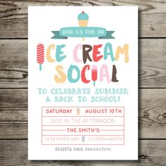 ice cream social / ice cream party / summer party / back to school printable invitation
