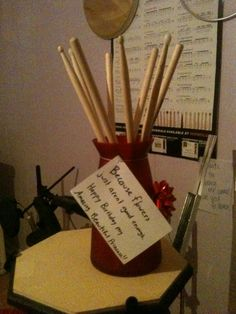 """Because flowers just aren't good enough"" drummer gift... perfect for Chris"