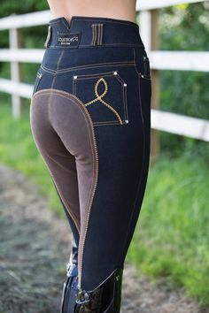 Equetech High Waist Denim Breeches-These are some pretty sweet full-seats! Equestrian Boots, Equestrian Outfits, Equestrian Style, Equestrian Fashion, Horse Gear, Horse Tack, Horse Riding Clothes, Riding Boots, Horse Riding Outfits