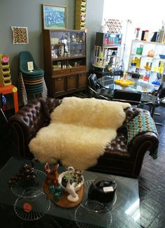 Sheepskin on leather… love, love, love this look