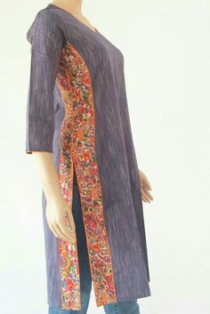 Kurta: Khadi cotton, - All About Salwar Pattern, Kurta Patterns, Dress Patterns, Dress Neck Designs, Designs For Dresses, Blouse Designs, Kurta Designs Women, Salwar Designs, Designer Kurtis