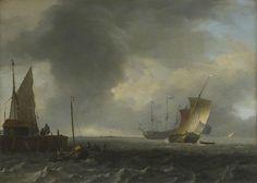Ludolf Bakhuysen - Uitzicht over een rivier in de buurt van Dordrecht