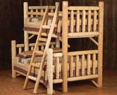 Perfect for our cabin. Twin over full log bunk bed.