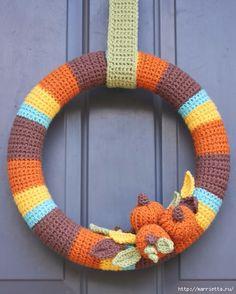 Осенний венок из пряжи с тыковками. Вязание крючком (10) (513x640, 174Kb)