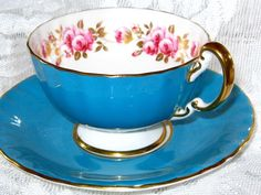 Vintage AYNSLEY Cup and Saucer  PIINK ROSES TURQUOISE BLUE GOLD OBAN Teacup…