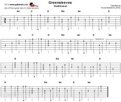 Greensleeves - easy song for beginners - guitar tab & video lesson