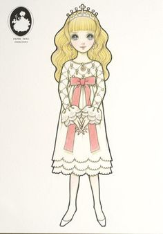 An illustration of lovely princess. This is from a illustration sheet set released for a Macoto Takahashi Japanese shojo art exhibition in Tokyo, Japan Japanese Paper, Vintage Japanese, Betty Boop, Paper Toys, Paper Crafts, Kawaii Illustration, Princess Coloring, Vintage Paper Dolls, Retro Toys