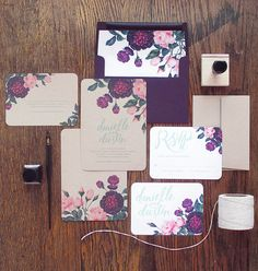 Rachel Marvin Creative's custom botanical wedding stationery manages to feel old-world and of-the-moment at once. #etsyweddings