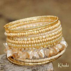 Pearl Stoned and Gold Glass Beaded Memory Wired Bracelet