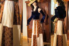Vintage 60s 70s boho hippie velvet and lace maxi skirt medium browns creams by SashaShoppe on Etsy