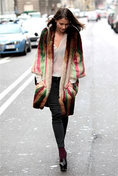 colorful fur coat jacket in Milan... street style #karinarussianpowpow http://www.karinaporushkevich.com