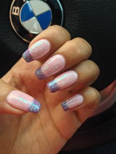 Pink and purple glitter French no chip