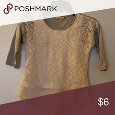 Girls Layered Look Tee Almost Perfect condition.  Grey & cream with lace, cotton & rayon, easy care, 3/4 sleeve Shirts & Tops Tees - Long Sleeve