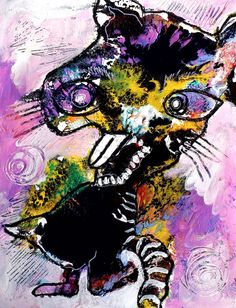 Original LABEDZKI abstract PRINT 5x7 inches glossy print MEAN KITTY #OutsiderArt