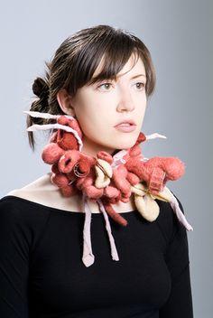 """Nikky Bergman, """"Muppet,"""" wool felt, silver  10""""x7""""x2.5"""", 2008"""