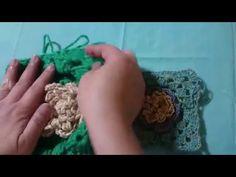 DIY CROCHET 3D FLOWER SQUARE   QUADRADINHO COM FLOR EM 3D