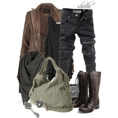 """Post-Apocalypse"" by shuchiu on Polyvore. I really like these boots, but the whole thing is great."