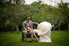 A relaxing moment in the orchard after the Gordon wedding at The Farm at Old Edwards. Photo by 6 of Four.