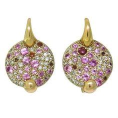 Pomellato Sabbia 18k Gold Diamond Pink Sapphire Earrings