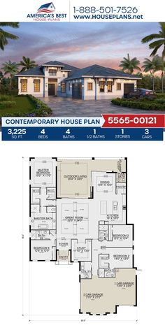 Take a look at Plan 5565-00121, this Contemporary design is fulfilled with 3,225 sq. ft., 4 bedrooms, 4.5 bathrooms, the courtyard entry feature, an outdoor living area, and a study concept. For more information, check out our webpage. Contemporary House Plans, Contemporary Bathrooms, Contemporary Design, House Layout Plans, House Layouts, Courtyard Entry, Floor Plan Drawing, Architecture Concept Drawings, Floor Framing
