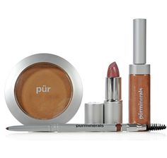 Pur Minerals Golden Girl 4 Piece Kit includes Lip Gloss in Golden Calcite, Lipstick in Golden Zincite,  3-in-1 Universal Pencil with Brush in Natural and Mineral Glow to help you achieve a gorgeous golden girl look.