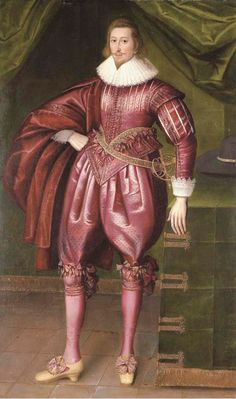 English School, circa Portrait of Sir John Penruddock full-length, in a dark pink doublet and hose and lace collar, his hat on a draped table, in a curtained interior